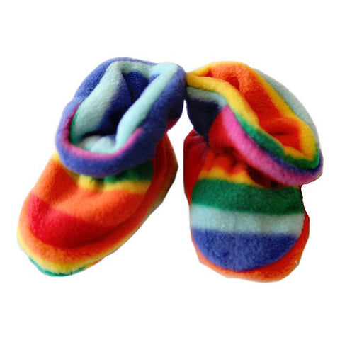 Fleece Baby Booties Rainbow