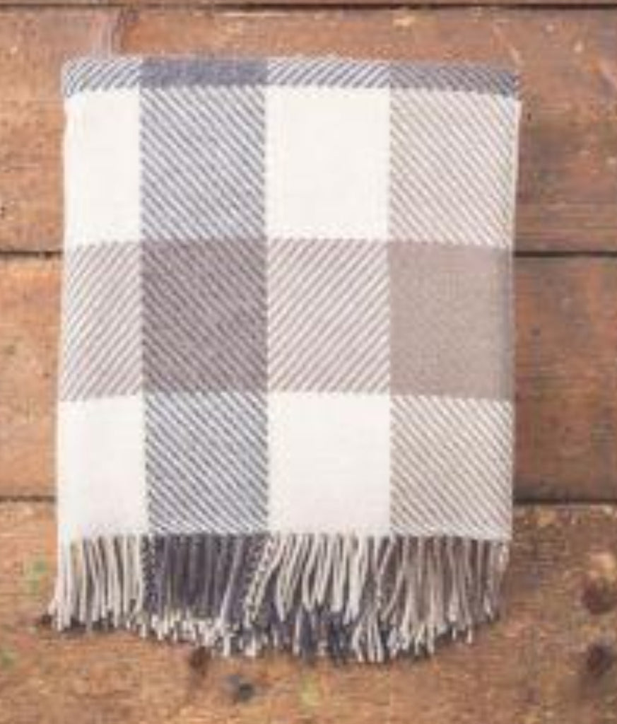 Foxford - Large Check Merino Wool Throw - Mink, Charcoal & Cream