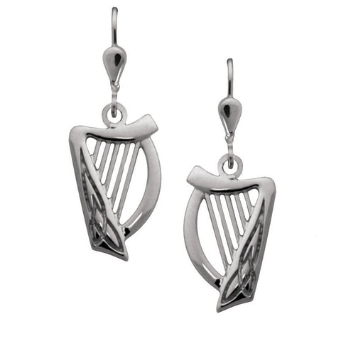 Harp Sterling Silver Drop Earrings