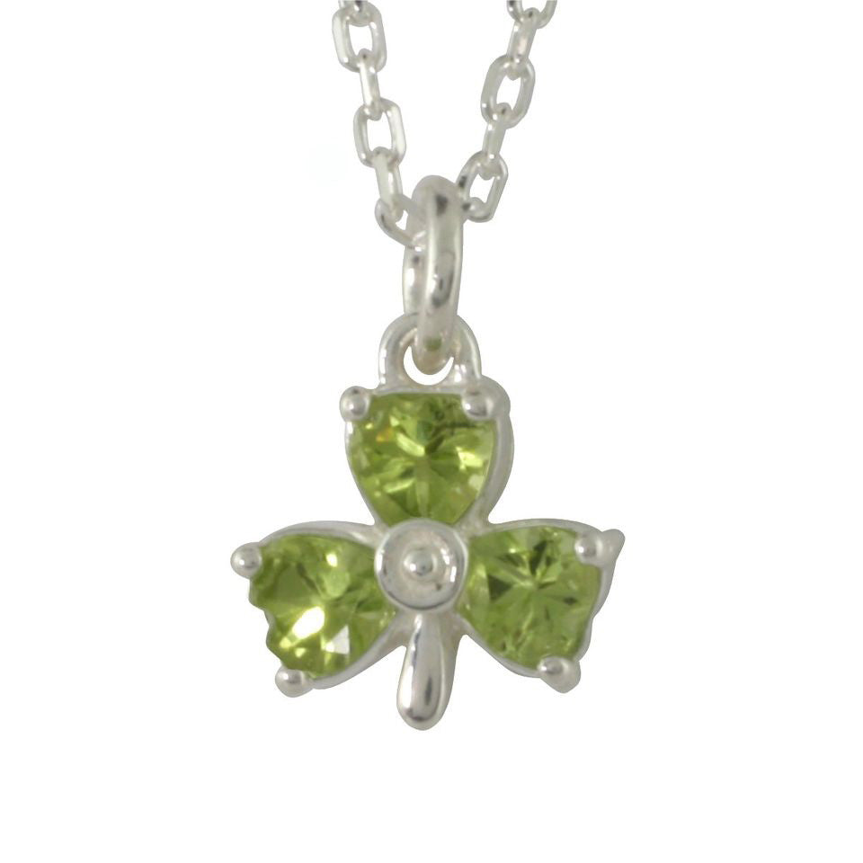 Heart Shaped Peridot Shamrock Pendant in Sterling Silver