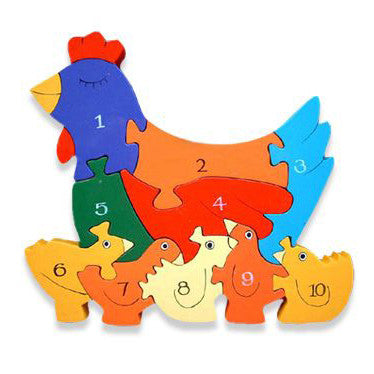 Hen and Chickens Numbers Wooden Jigsaw Puzzle