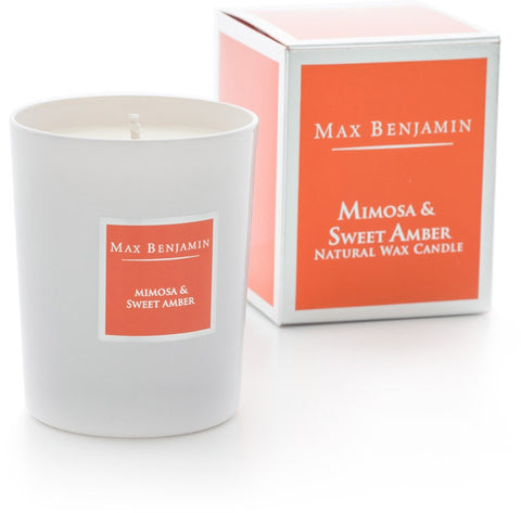 Mimosa & Sweet Amber - Natural Wax Candle by Max Benjamin
