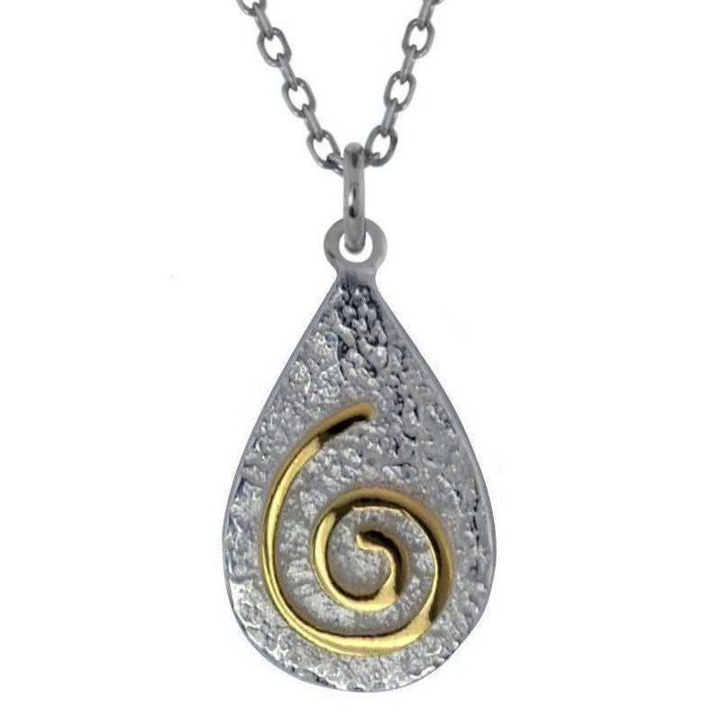 Newgrange Spiral on Stone Effect Pendant