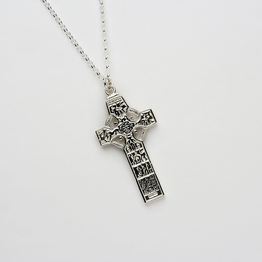 Ogham St Patrick & Columba - High Cross of Kells Silver Necklace