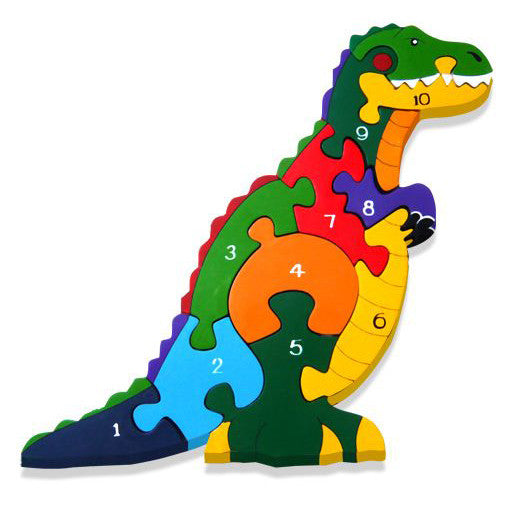 T Rex Numbers Wooden Jigsaw Puzzle