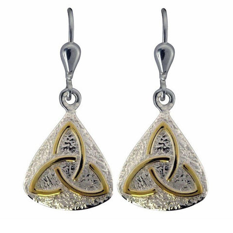 Trinity Knot Silver Two Tone Drop Earrings