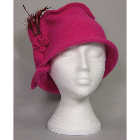 Trilby Cerise Pink w. feather