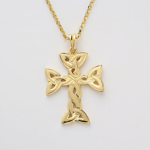 Trinity Knot Cross Large 14K Gold