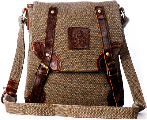 Irish Leather and Tweed Canvas Small Messenger Bag