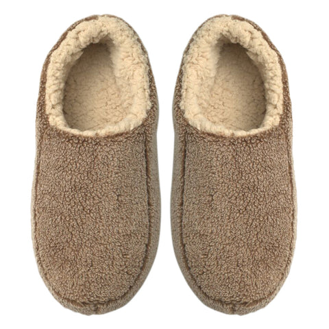Mens Solid Sherpa Slippers - Tan - Oooh Yeah Socks