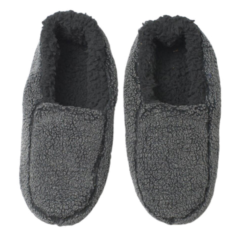 Mens Solid Sherpa Slippers - Black - Oooh Yeah Socks