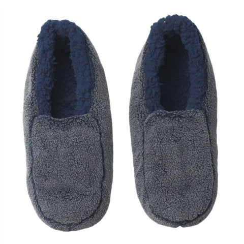 Mens Solid Sherpa Slippers - Blue - Oooh Yeah Socks
