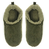 Mens Solid Sherpa Slippers - Olive - Oooh Yeah Socks