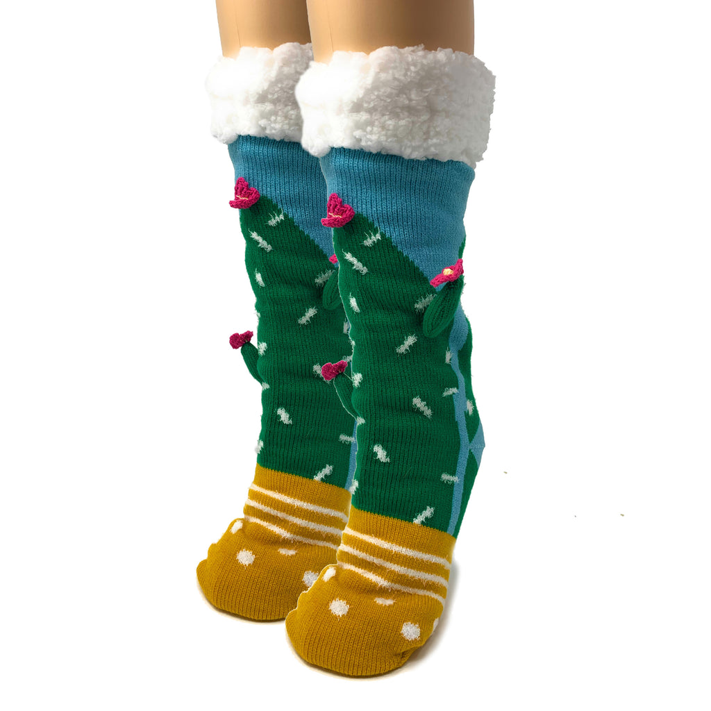 Cactus Hugs 3D Pop Sherpa Slippers - Oooh Yeah Socks