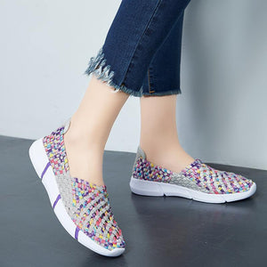 All-season Knitting Colourful Slip-on Round Toe Casual Breathable Shoes