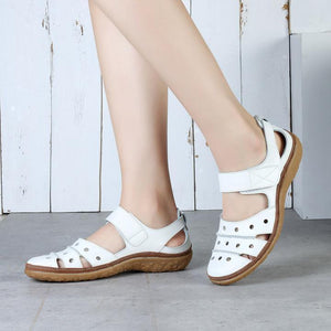 👠2020 Women's Leather Hollow Hook Casual Flat Sandals