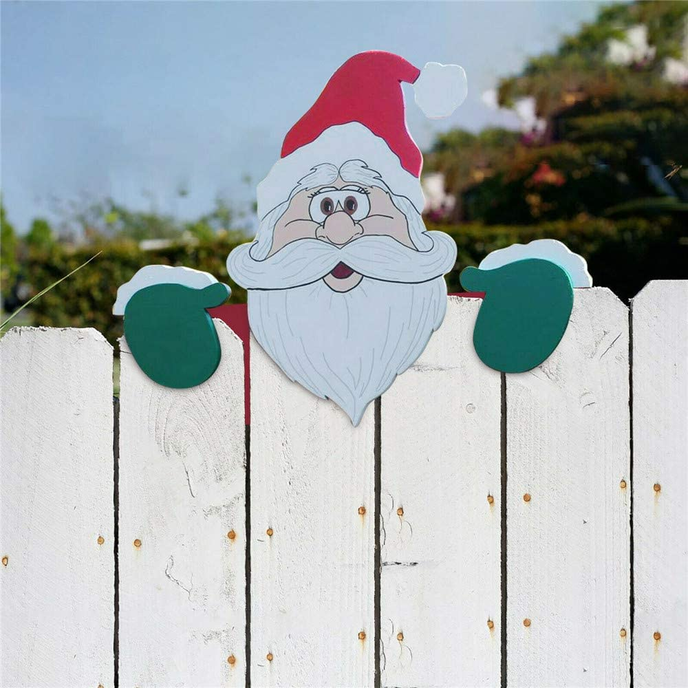 🎅🏻Santa Claus & Snowman Christmas Fence Peeker Holiday Outdoor Decoration🎅🏾