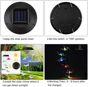 Butterfly Solar Wind Chimes Outdoor Color Changing Mobile Solar Hanging Light