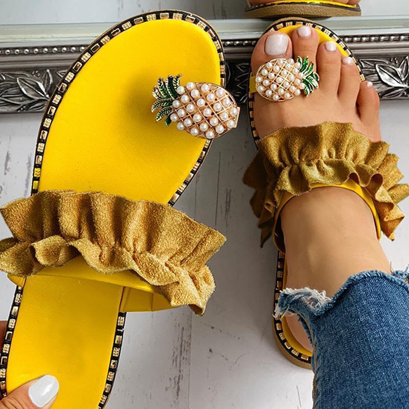 2020 women's pineapple rhinestone sandals Clip Toe Flip Flops