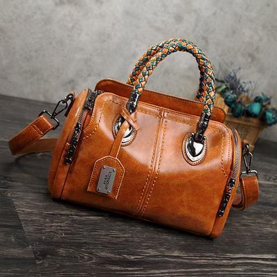 Large Capacity Multi Pockets Women Leather Handbag