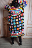 Black Colorful Crochet Cardigan