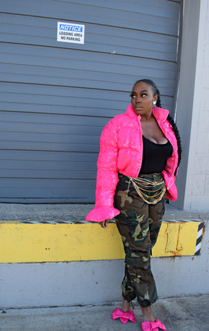 Pink Power Puff | Sequin Puffer Coat estimate ship 12/31
