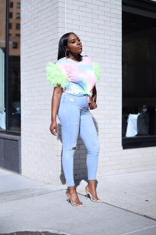 Sherbet Puff Delight | Ruffle Top