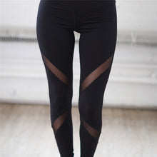 Load image into Gallery viewer, Black Mesh Yoga Pants