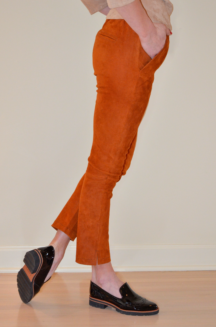 Leather Draw Pant in Rust color