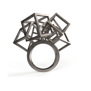 Z Cube Ring - zimarty - wearable architecture 3d printed jewelry