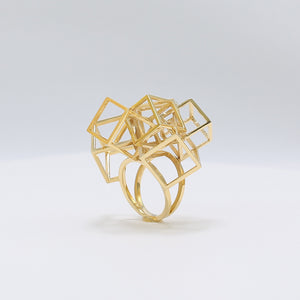 Z Cube Ring - zimarty - wearable architecture 3d printed jewellery