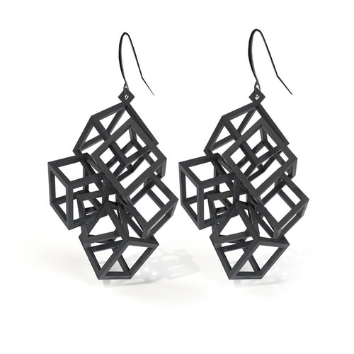 Z Cube Earring - zimarty - wearable architecture 3d printed jewelry