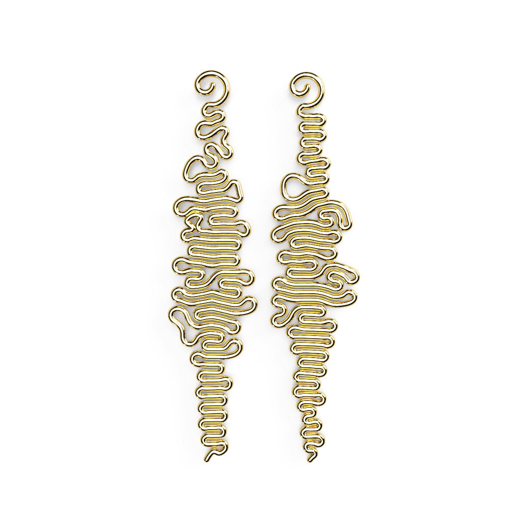 Squiggle Earring - zimarty - wearable architecture 3d printed jewelry