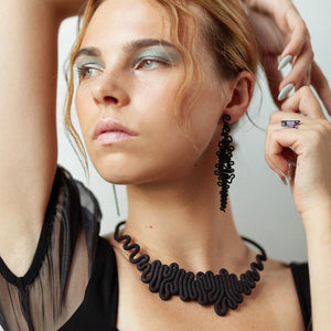Squiggle Necklace - zimarty - wearable architecture 3d printed jewelry