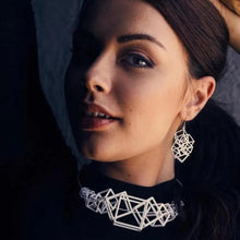 Load image into Gallery viewer, Z Cube Earring - zimarty - wearable architecture 3d printed jewellery