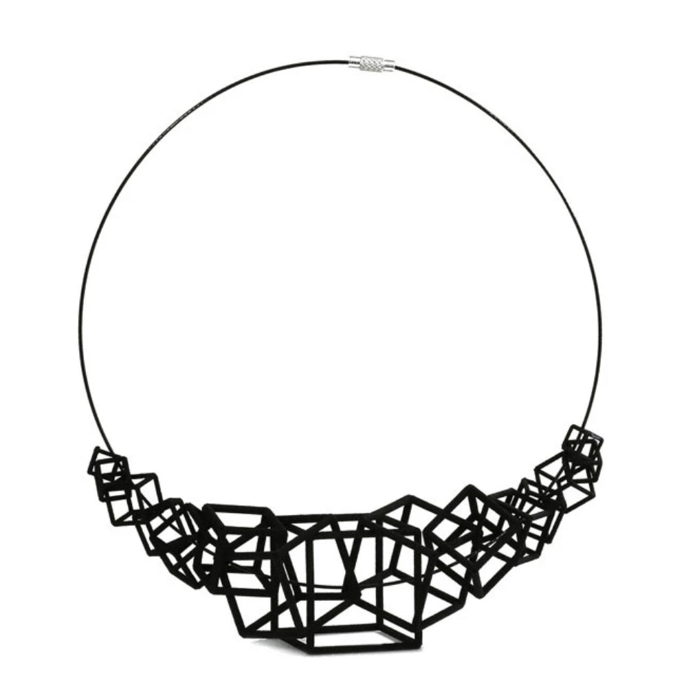 Z Cube Necklace - zimarty - wearable architecture 3d printed jewelry