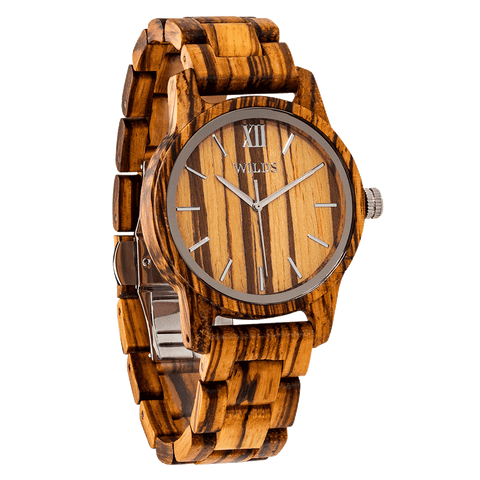 Men's Handmade Engraved Zebra Wooden Watch - Queen Bunnybee's Gifts