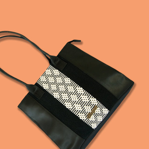 Black Leather Tote Bag with White Stripe - Queen Bunnybee's Gifts