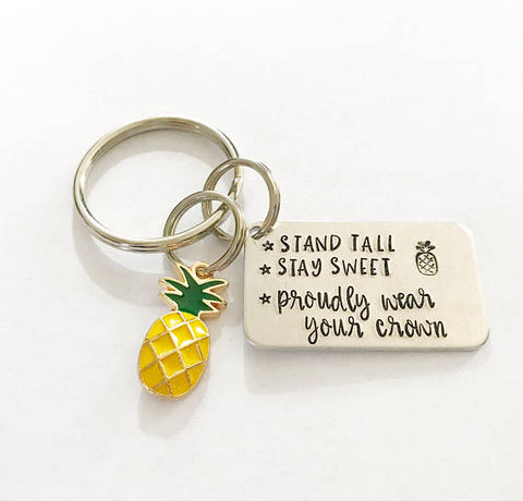 Inspirational keychain - Pineapple keychain - Hand - Queen Bunnybee's Gifts