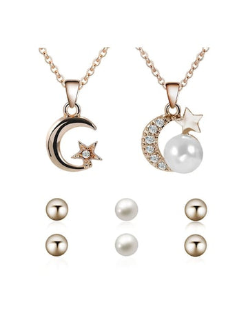 Rhinestone Moon And Star Necklace 2 pcs & Earrings - Queen Bunnybee's Gifts