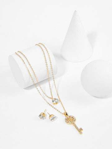 Gold Key Pendant Layered Necklace & Earrings Set - Queen Bunnybee's Gifts