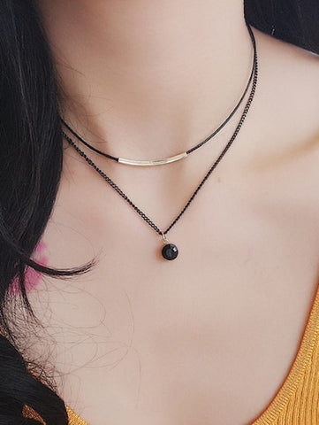 Black Bar Detail Double Layered Necklace - Queen Bunnybee's Gifts