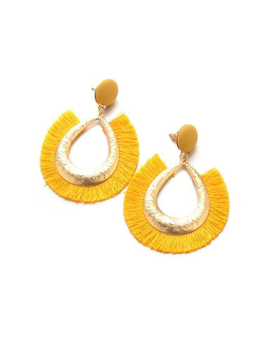 Yellow Open Water drop Tassel Hoop Earrings - Queen Bunnybee's Gifts