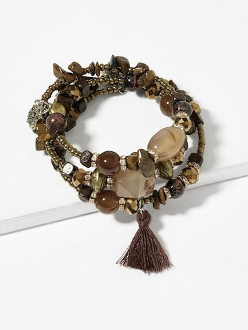 Brown Tassel Charm Stone Layered Bracelet - Queen Bunnybee's Gifts