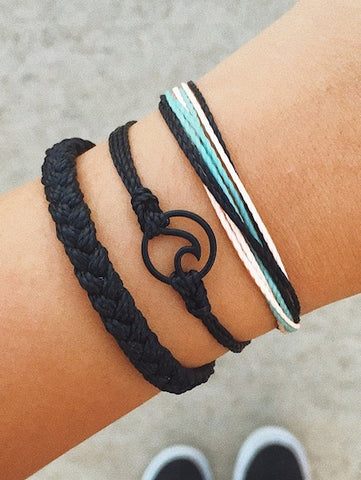 Black Circle Wave Detail Woven Bracelet Set 3 pcs - Queen Bunnybee's Gifts
