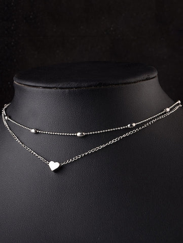 Silver Heart Detail Layered Chain Necklace - Queen Bunnybee's Gifts