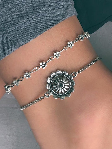 Silver Flower Detail Anklet Chain Set 2pcs - Queen Bunnybee's Gifts