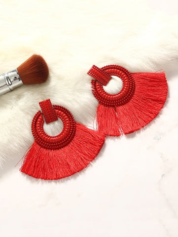 Red Circle & Tassel Statement Earrings - Queen Bunnybee's Gifts