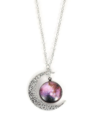 Silver Star Sky Round & Moon Pendant Necklace - Queen Bunnybee's Gifts