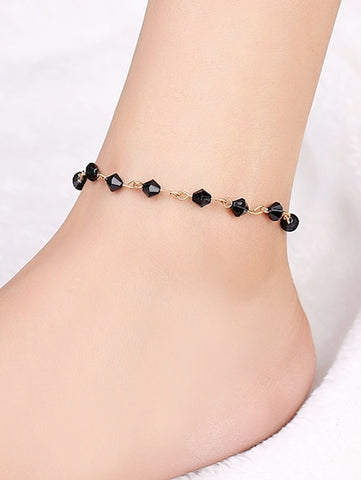 Black Bead & Bar Design Anklet - Queen Bunnybee's Gifts